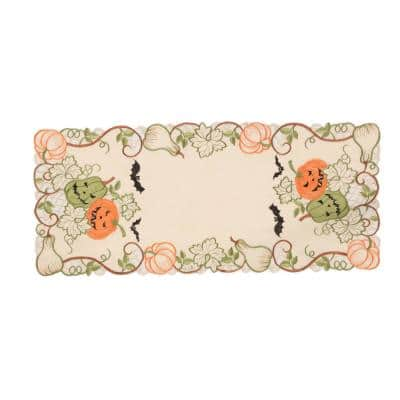 0.1 in. H x 15 in. W x 34 in. D Halloween Jack-O-Lanterns Embroidered Cutwork Table Runner