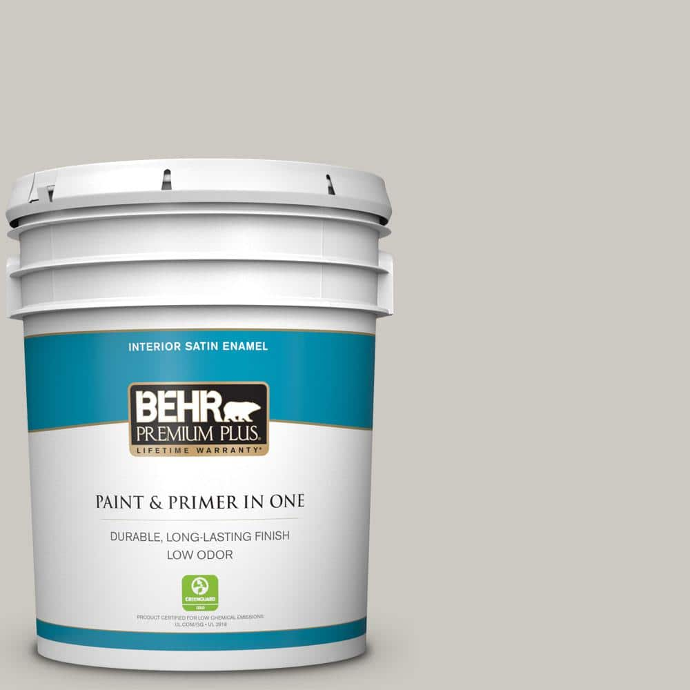Behr Premium Plus 5 Gal 790c 3 Dolphin Fin Satin Enamel Low Odor Interior Paint And Primer In One 705005 The Home Depot