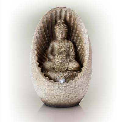 11 in. Tall Indoor/Outdoor Buddha Tabletop Water Fountain with LED Lights
