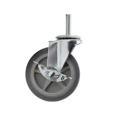 4 in. Medium Duty Gray TPR Caster Stem Mount with Brake 130 lbs. Weight Capacity