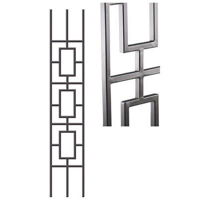 Aalto Modern 46 in. x 0.5 in. Ash Grey Triple Rectangular Rake Panel Hollow Wrought Iron Baluster