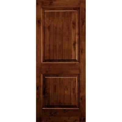 30 in. x 96 in. Rustic Knotty Alder Square Top V-Grooved Red Chestnut Stain Right-Hand Wood Single Prehung Front Door