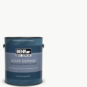 Behr Ultra 1 Gal Ultra Pure White Extra Durable Satin Enamel Interior Paint Primer 775001 The Home Depot