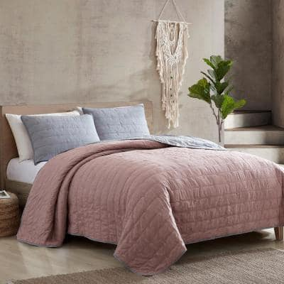 3-Piece Everly Embroidered Quilt Set Grey/Rose Queen