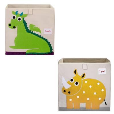 Kids Foldable Multi-Colored Dragon Felt Storage Cube Toy Bin and Rhino Cube Toy Bin