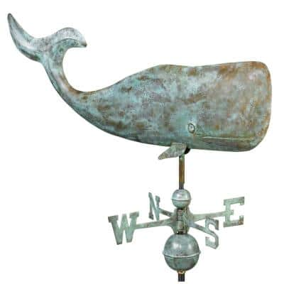 37 in. Whale Weathervane - Blue Verde Copper