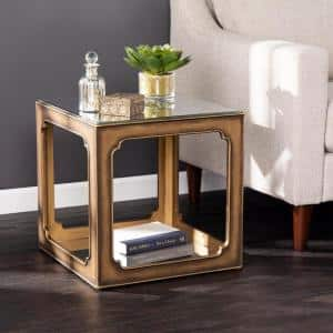 Toluse Antique Brass with Mirror Square Accent Table