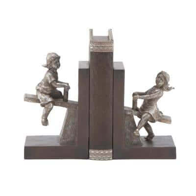 8 in. x 5 in. Polystone Playing Seesaw Bookend