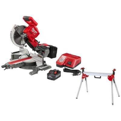 M18 FUEL 18-Volt Lithium-Ion Brushless Cordless 10 in. Dual Bevel Sliding Compound Miter Saw Kit with Miter Saw Stand
