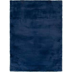 Bazaar Piper Navy 8 ft. x 10 ft. Solid Polyester Area Rug