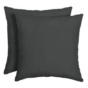 16 x 16 Slate Canvas Texture Square Outdoor Throw Pillow (2-Pack)