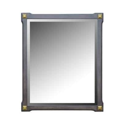 Marchesa 26 in. x 2 in. Classic Rectangle Framed Gold and Tobacco Accent Mirror