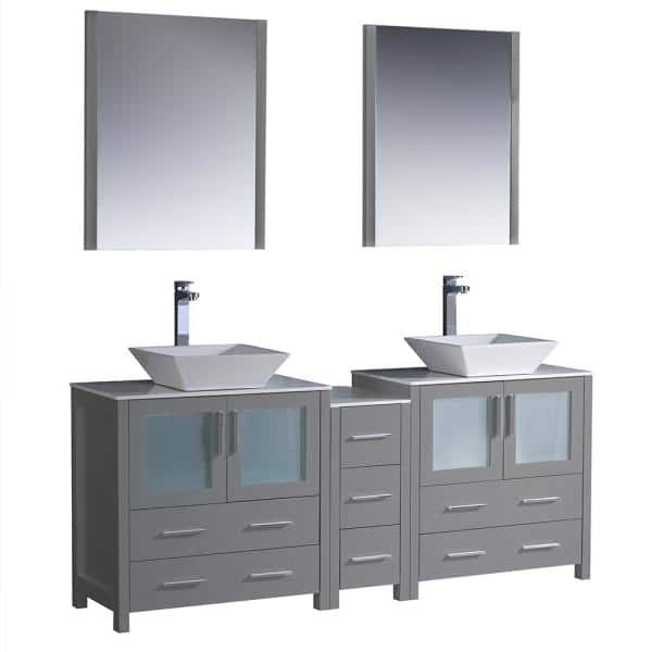 Fresca Torino 72 In Double Vanity Gray With Glass Stone Tops White Vessel Sink Middle Cabinet Mirrors Fvn62 301230gr Vsl The Home Depot