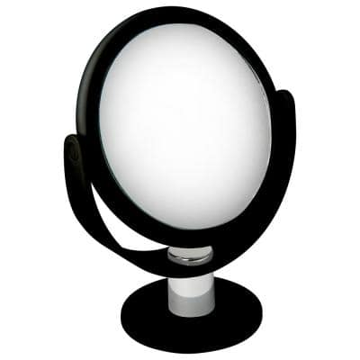 Dual Sided 10X Magnification Rubberized Vanity Mirror in Black