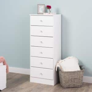 Astrid 6-Drawer Crystal White Chest of Drawers