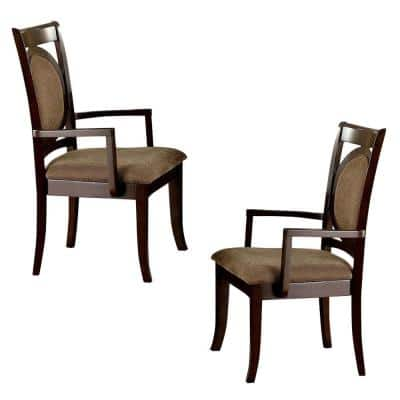 Evelyn Contemporary 41.8 in. Height Walnut Arm Chair (Set of 2)