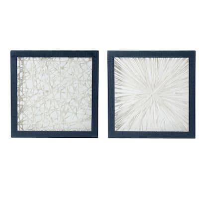 """Ivory Indigo """"Framed Chic"""" Wood Wall Decor (Set of 2)"""