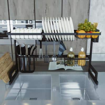 33.5 in. Black Stainless Steel Standing Wide Over Sink Dish Rack