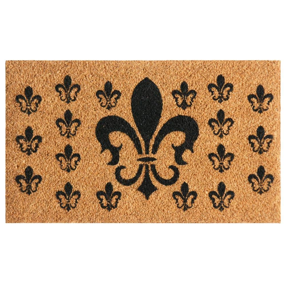 Rubber Cal French Coat Of Arms 18 In X 30 In Fleur De Lis Door Mat 10 102 023 The Home Depot