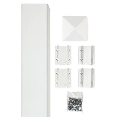 Belfast 4 in. x 4 in. x 96 in. White Vinyl Fence Post Kit