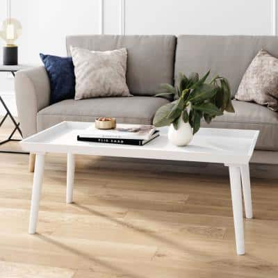 Hazel 41 in. White Large Rectangle Wood Coffee Table with Narrow Cone Legs