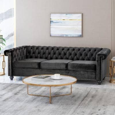Parkhurst 83 in. Black Solid Velvet 3-Seat Chesterfield Sofa with Nailhead