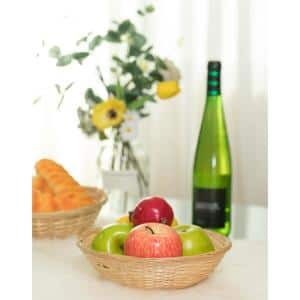 Round Bamboo Serving Wicker Bread Roll Baskets Display Tray Small (Set of 12)