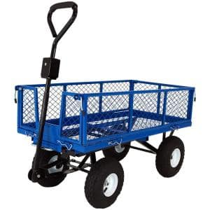 Blue Steel Heavy-Duty Utility Cart with Folding Sides