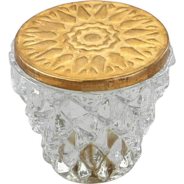 Mascot Hardware Diamond Cut 1 1 2 In Clear Golden Head Cabinet Knob Ck611 The Home Depot
