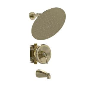 Single-Handle 2-Spray 10 in. Wall Mounted Round Tub and Shower Faucet in Gold (Valve Included)