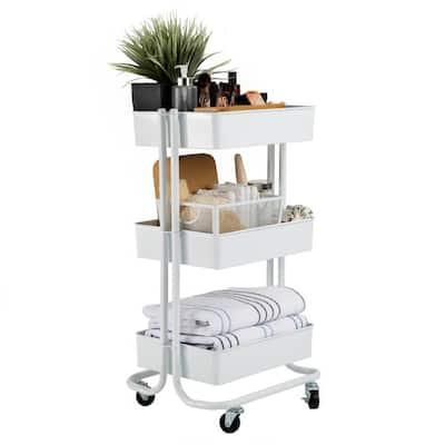 3-Tier Rolling Steel Storage Bin Utility Kitchen Cart with Wheels in White