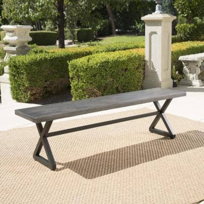 Rolando Grey Aluminum Outdoor Bench