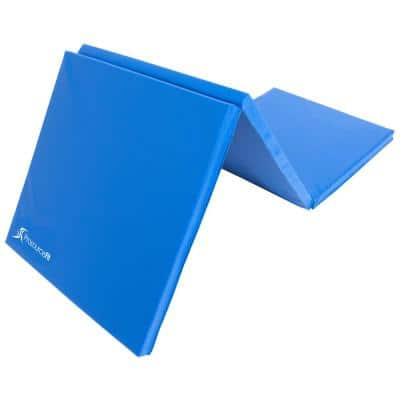 Tri-Fold Folding Thick Exercise Mat Blue 6 ft. x 2 ft. x 1.5 in. Vinyl and Foam Gymnastics Mat (Covers 12 sq. ft.)