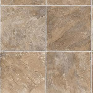 Pro Basic Rustic Slate Neutral Stone Residential Vinyl Sheet Flooring 12ft. Wide x Cut to Length