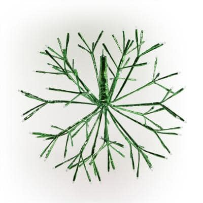 16 in. Tall Holiday 3D Snowflake Green Hanging Ornament with LED Lights