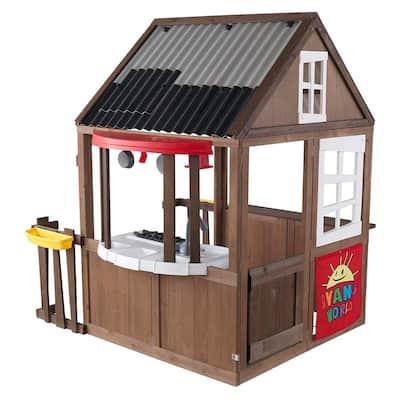 Ryan's World Kids Outdoor Backyard Playhouse Playset w/Kitchen, Brown