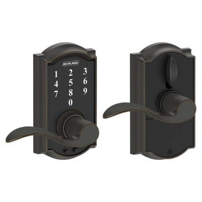 Camelot Aged Bronze Electronic Door Lock with Accent Door Lever