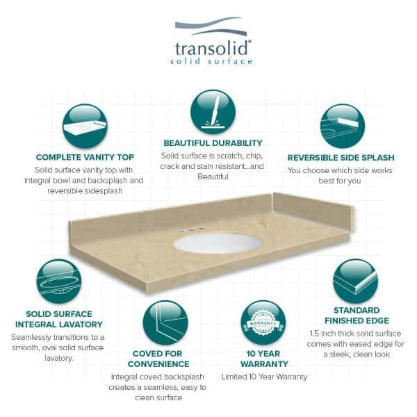 Transolid 42 5 In W X 22 25 In D Solid Surface Vanity Top In Sand Mountain With 8 In Widespread Vt42 5x22 1oi 94 A W 8 The Home Depot
