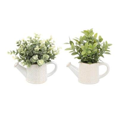 Artificial Eucalyptus and Tea Leaf in 6.25 in. Cathedral Watering Can (Set of 2)