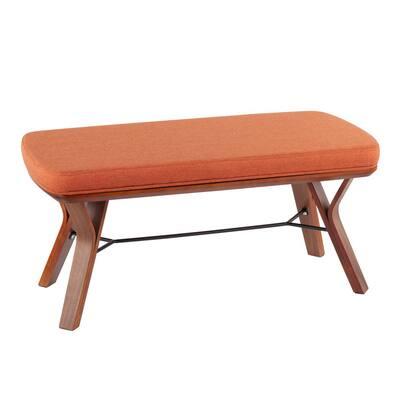 Folia Orange Fabric and Walnut Wood Bench (19.5 x 42 x 20)