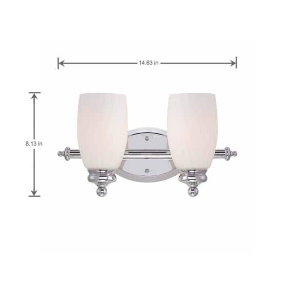 Hampton Bay 2 Light Chrome Bath Bar Light With Frosted White Glass Hb2573 07 The Home Depot