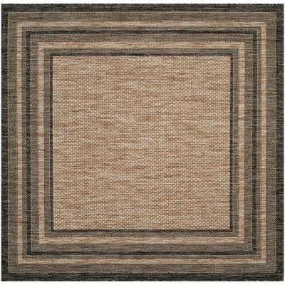 Courtyard Natural/Black 9 ft. x 9 ft. Solid Striped Indoor/Outdoor Square Area Rug