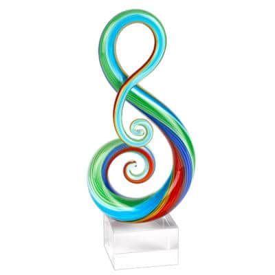 Rainbow Murano Style Art Glass Note Abstract Centerpiece on Crystal Base 11 in. Tall