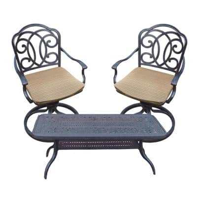 Black and Brown 3-Piece Aluminum Swivel Rocker Outdoor Bistro Set with 46 in. Table and Striped Cushions