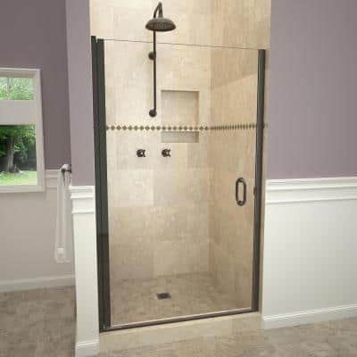 1200 Series 34 in. W x 76 in. H Semi-Frameless Pivot Shower Door in Oil Rubbed Bronze with Pull Handle and Clear Glass