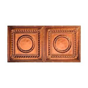 Rosette 2 ft. x 4 ft. Glue Up Vinyl Ceiling Tile in Antique Bronze (40 sq. ft.)