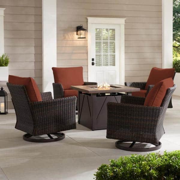 Hampton Bay Lakeline 5 Piece Brown Metal Outdoor Patio Fire Pit Swivel Seating Set With Cushionguard Quarry Red Cushions H191 01399700 The Home Depot