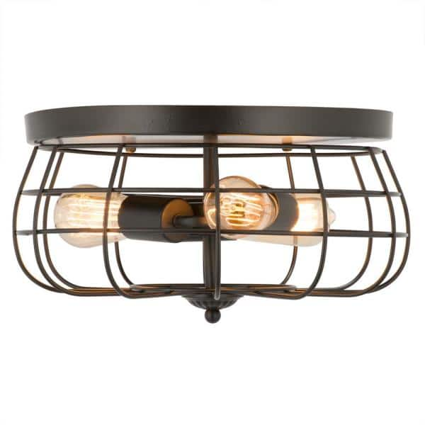 Merra 15 In Industrial 3 Light Oil Rubbed Bronze Metal Cage Flush Mount Hcf 1715 Bz Bnhd 1 The Home Depot