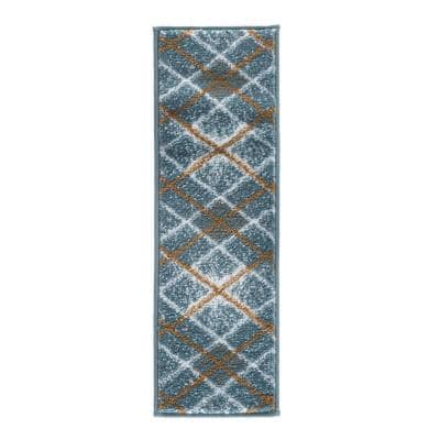 Modern Collection Teal 9 in. x 28 in. Polypropylene Stair Tread Cover (Set of 13)