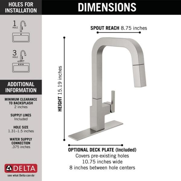Delta Junction Single Handle Pull Down Sprayer Kitchen Faucet With Magnatite Docking In Spotshield Stainless 19825lf Sp The Home Depot